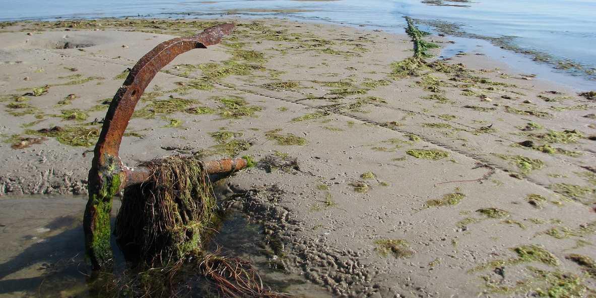 старый якорь на пляже