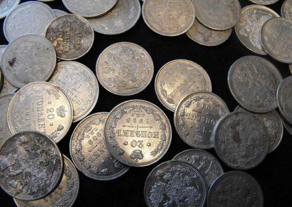 серебряные монеты на лом