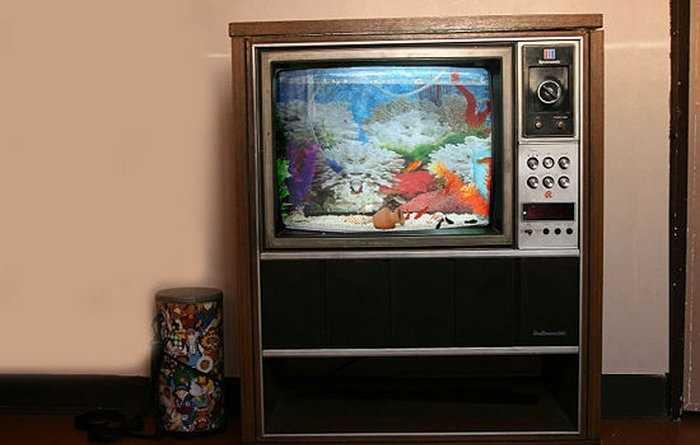 Аквариум из старого консольного телевизора - еще одно применение ненужной технике